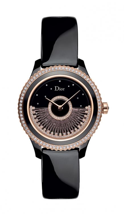 Часы Dior VIII Grand Bal Fil de Soie, корпус из розового золота и черной керамики, перламутровый циферблат, бриллианты, ротор из розового золота и вольфрама