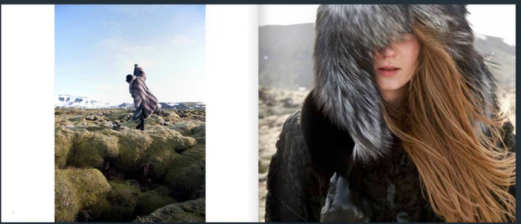 Дизайнер Эггерт Йоханссон нашел свой этичный способ работы с натуральным мехом и на материале своих коллекций издал книгу, в которую вошли фотографии его клиен- тов и изделий на фоне суровых исландских пейзажей