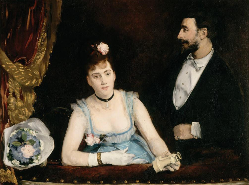 Ложа в одном из итальянских театров, картина Евы Гонсалес, 1874 год