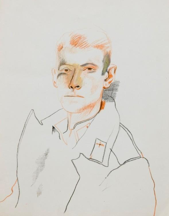 Олег Тистол, 1985, Автопортрет, бумага, сангина, карандаш