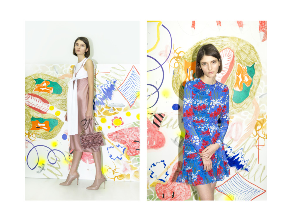 Слева - платье Alexander Wang, сумка o711, мюли Sergio Rossi; Справа - платье Mother Of Pearl