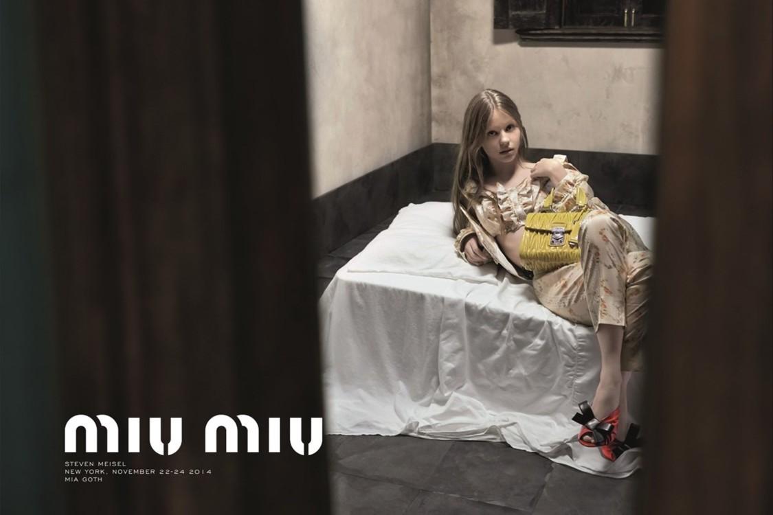 Миа Гот в рекламной кампании Miu Miu