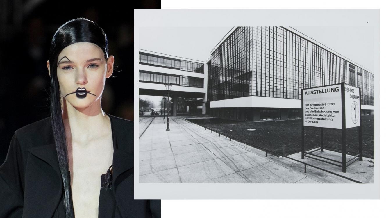 Прическа с показа Yohji Yamamoto, осень-зима 2016, и здание школы Баухауз, 1925-1926