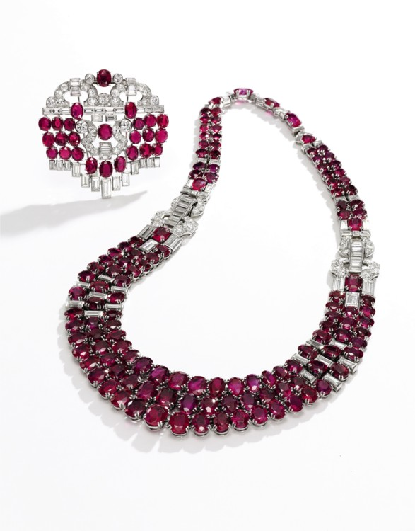 Лот 312- Ruby and diamond necklace and a broch, Sotheby's