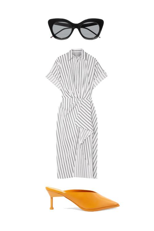 Очки, Thom Brown. Платье в полоску, Jason Wu. Желтые босоножки, Mercedes Castillo