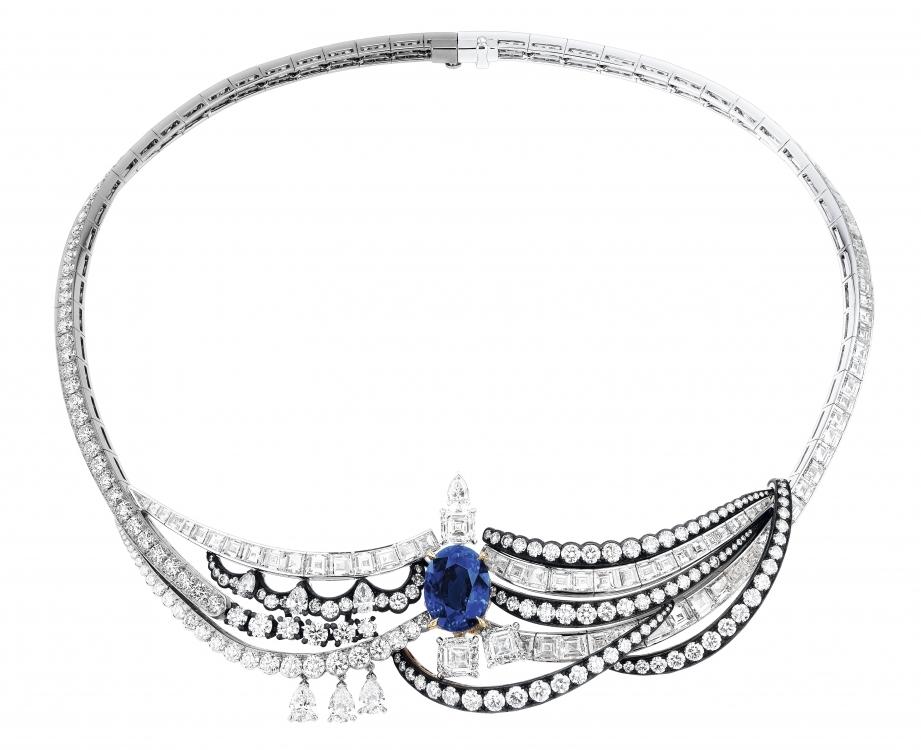 Колье Chambre du Roi, белое, розовое и желтое золото, черненое серебро, бриллианты, сапфир, Dior Joaillerie