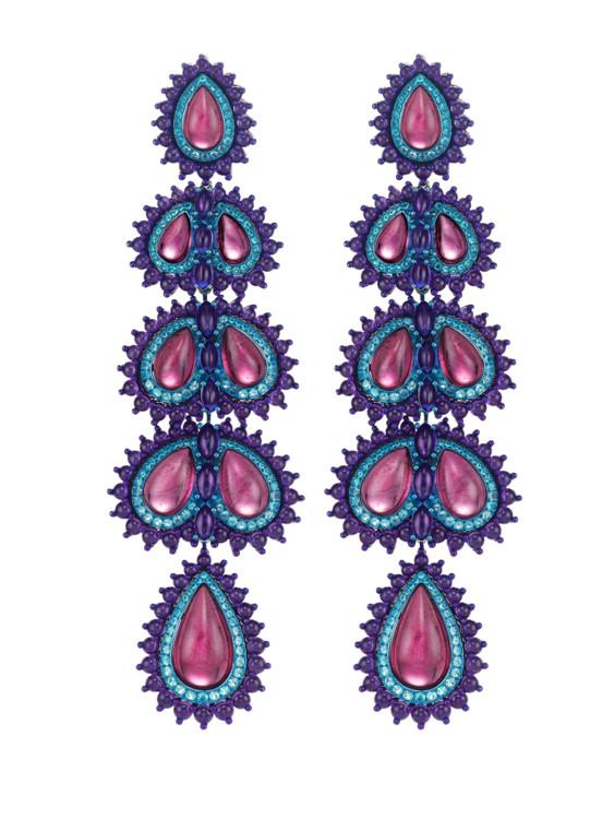 Сережки з колекції високого ювелірного мистецтва Red Carpet, титан, дебеліти, аметисти та турмаліни Параіба, Chopard