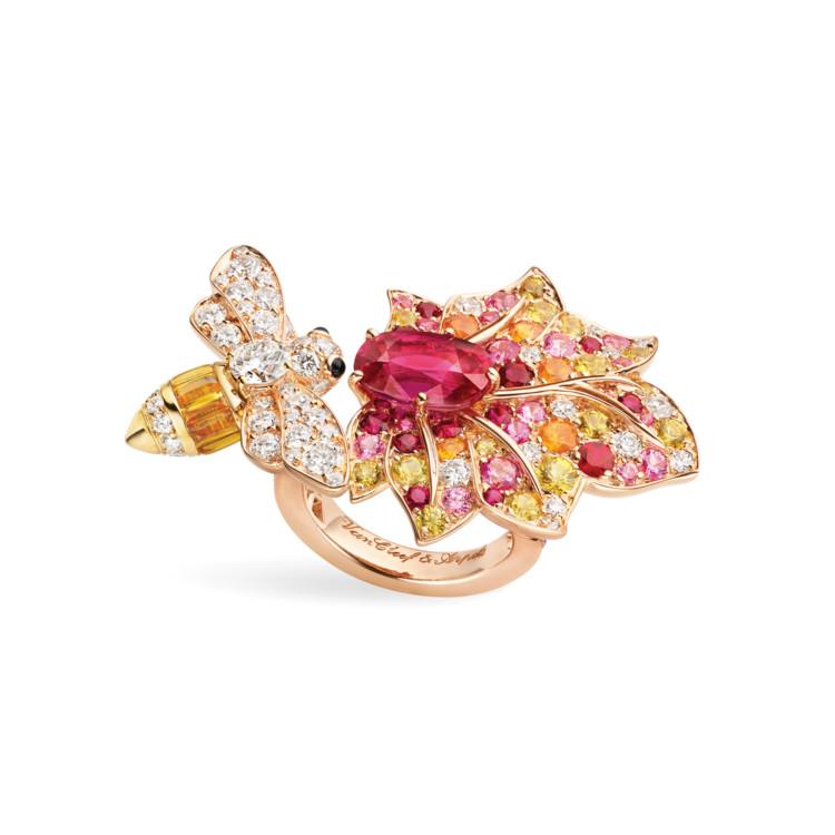 Рубин 3,07 карат, желтое и розовое золото, бриллианты, разноцветные сапфиры