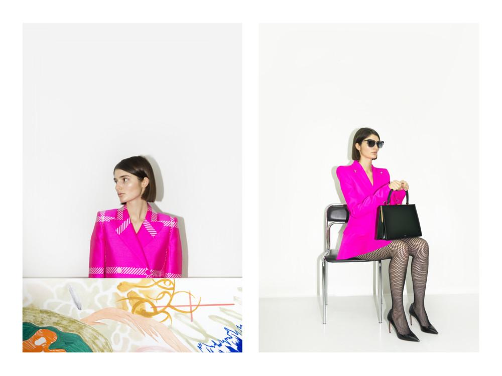 Слева - жакет Fendi, справа - жакет Mugler, сумка Celine, очки Givenchy, колготки Falke, туфли Jimmy Choo