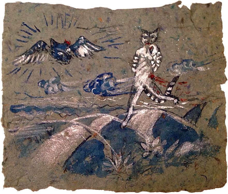 """Один из первых эскизов к работе """"Котик раненый идет"""", конец 1980-х"""