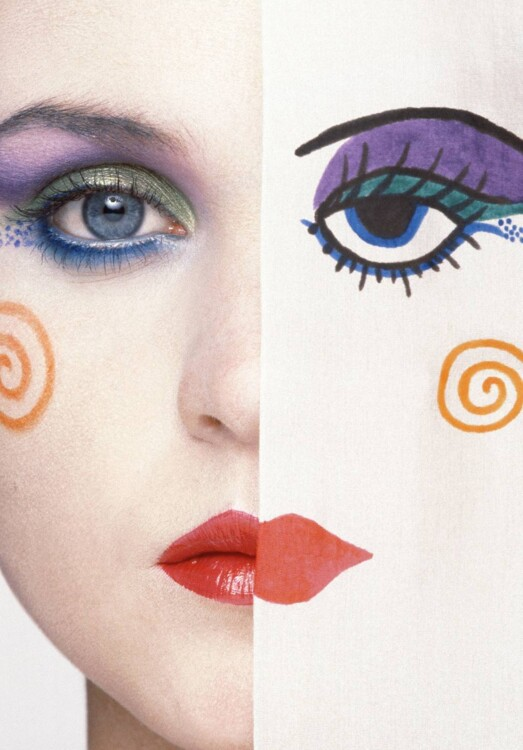 «Лицо арлекина» нарисованное косметикой Mary Quant, ноябрь 1980