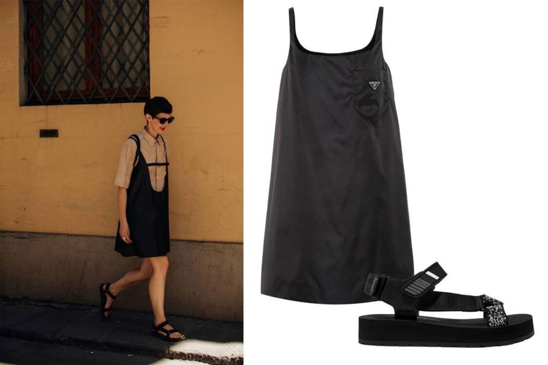 Платье и сандалии Prada