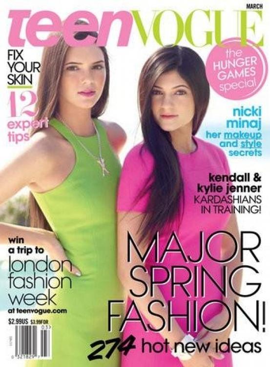 Кендалл Дженнер с Кайли Дженнер на обложке Teen Vogue, март 2012
