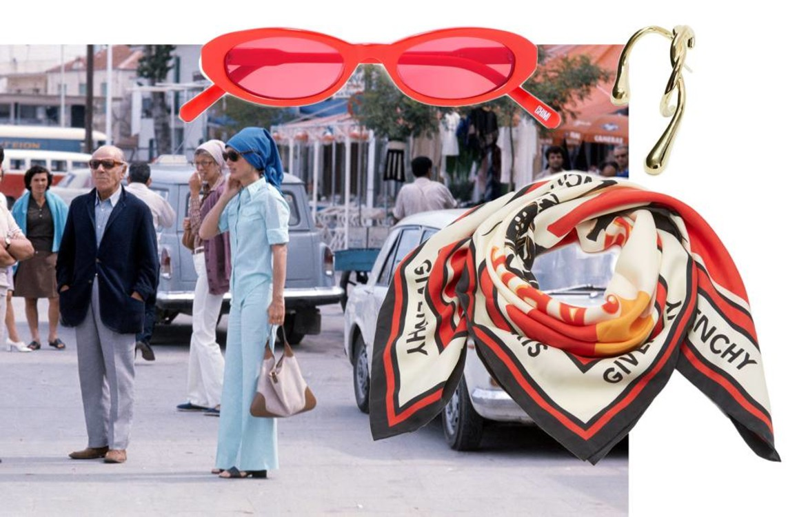Солнцезащитные очки CHIMI, серьга Anne Manns, шарф Givenchy