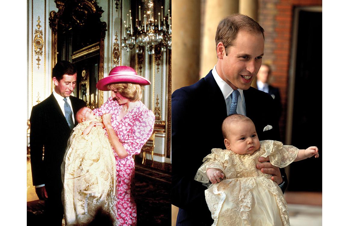 Принц Чарльз, принц Уильям и принцесса Диана 1982 год/ принц Уильям и принц Джордж 2015