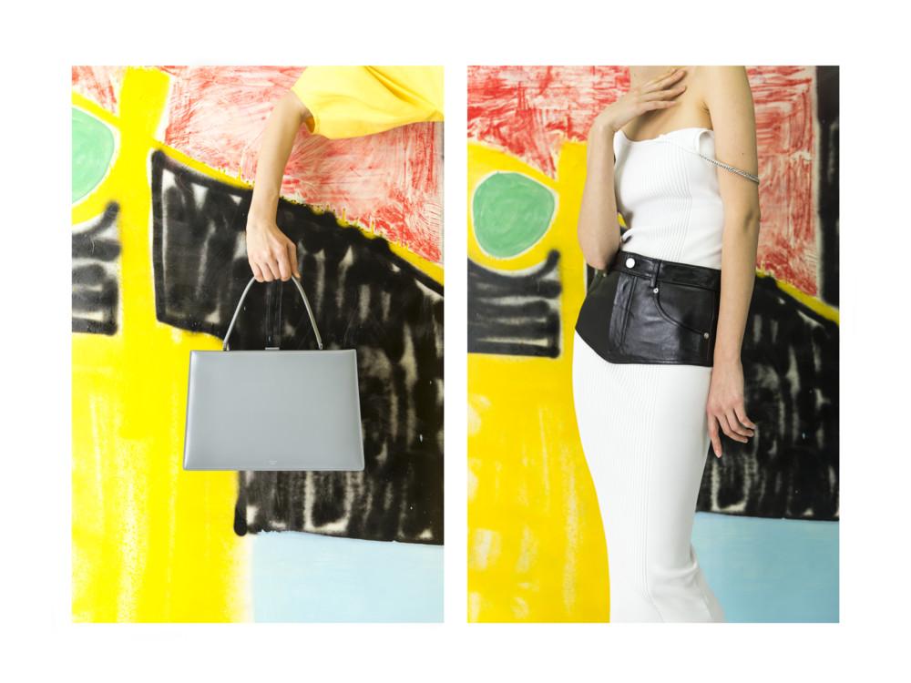 Сумка Celine, платье Alexander Wang, пояс Helmut Lang