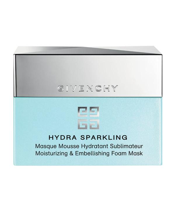 Зволожувальна маска Hydra Sparkling, Givenchy, з текстурою мусу Sparkling Water Complex® в поєднанні з технологією Aqua Keep відновлює запаси вологи, а мікропухирці води глибоко насичують вологою