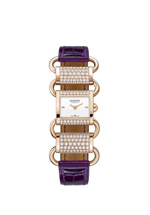 Часы Klikti, корпус и звенья цепочки из розового золота, 178 бриллиантов (1,6 карата), лакированный циферблат, ремешок из кожи аллигатора, Hermès