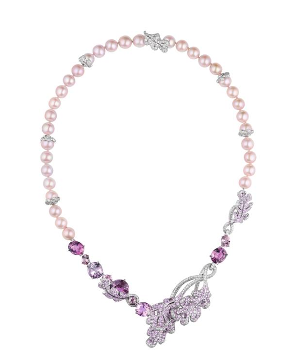Сотуар Le Chêne, белое золото, бриллианты, розовые и фиолетовые шпинели, розовые сапфиры, жемчуг, ChauMet