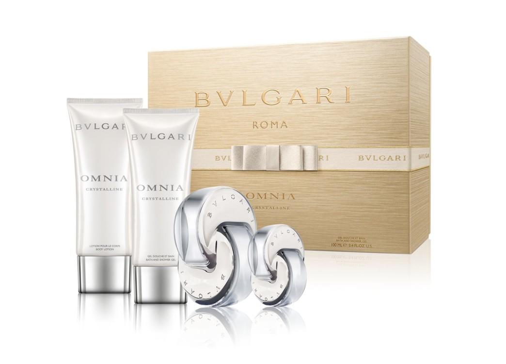 Женский подарочный набор Bulgari Cristalline: лосьон для тела, гель для ванной и душа, туалетная вода и мини-версия аромата для путешествий, все – Bulgari