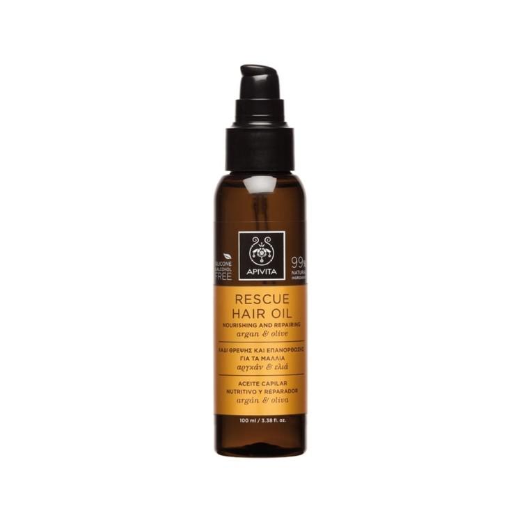 Восстанавливающее питательное масло для волос Rescue Hair Oil with Argan oil & Olive, Apivita