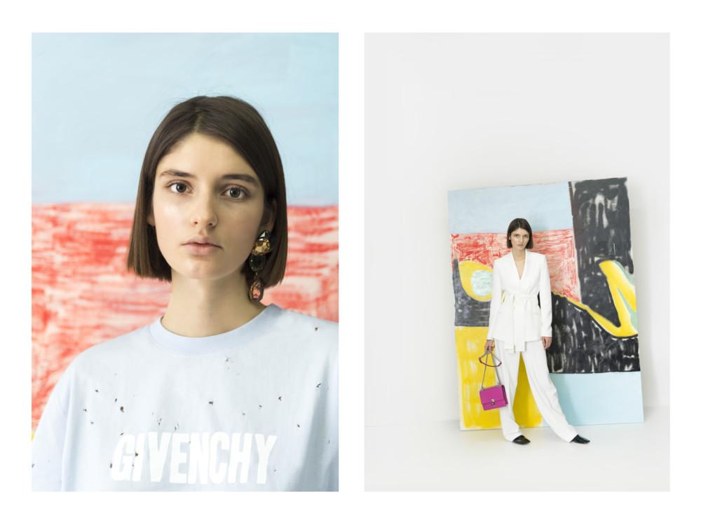 Футболка Givenchy, серьга Lanvin, брюки и жакет Pallas Paris, сумка Fendi, мюли Celine