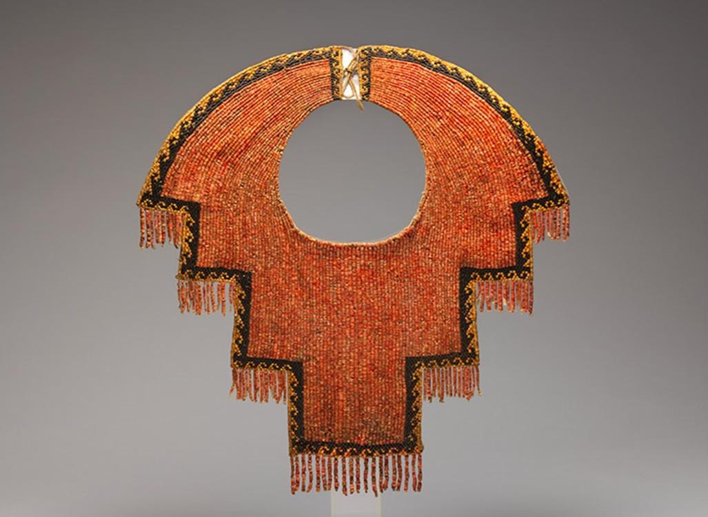 Воротник, XII-XIV в.в. Перу, кораллы, черные каменные бусины, хлопок