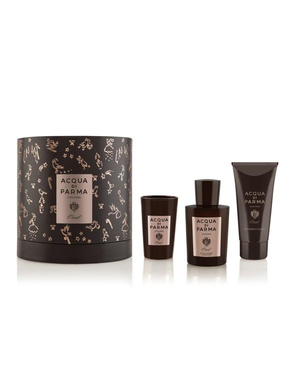 Подарочный набор с ароматом драгоценного дерева уд: концентрированный одеколон, гель для душа и волос, мини-свеча Oud Colonia, Acqua di Parma