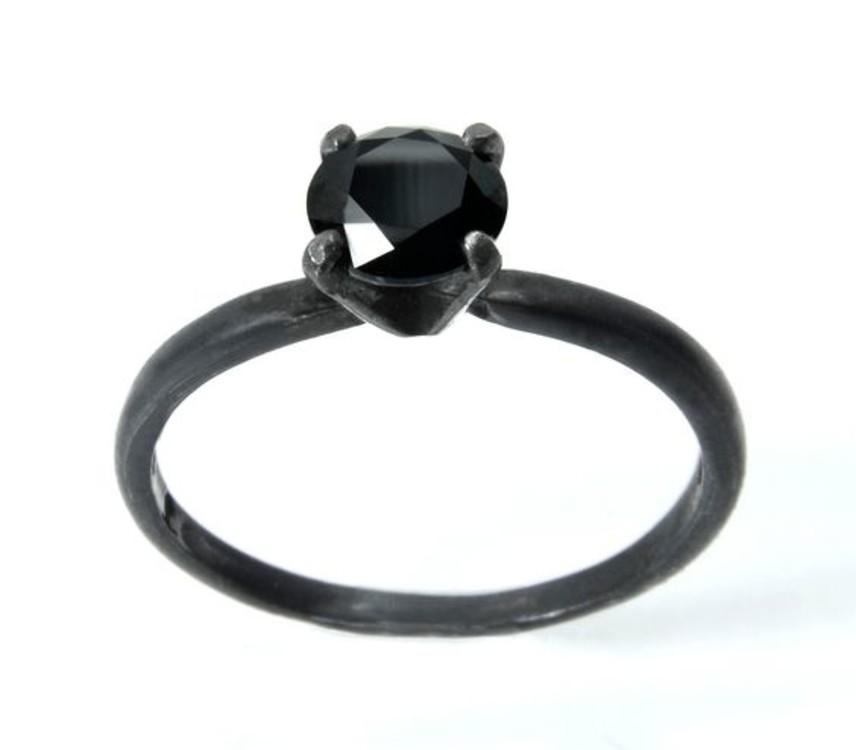 Кольцо, черная шпинель, Etsy
