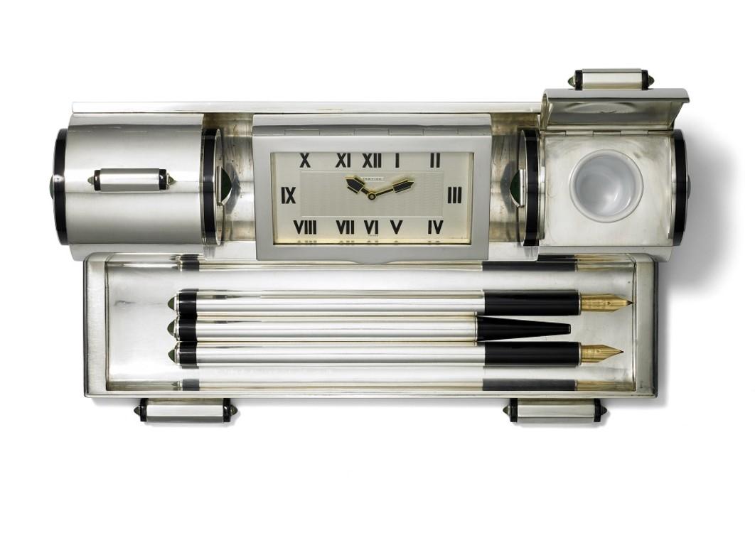 Настольный набор письменных принадлежностей с часами Cartier Paris для Cartier New York, отделS, 1931 г. Серебро, золото, нефрит, черный лак, эмаль
