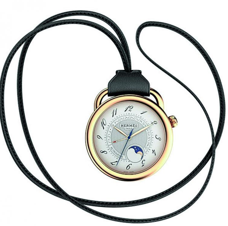 Карманные часы, желтое золото, кожа, Hermès