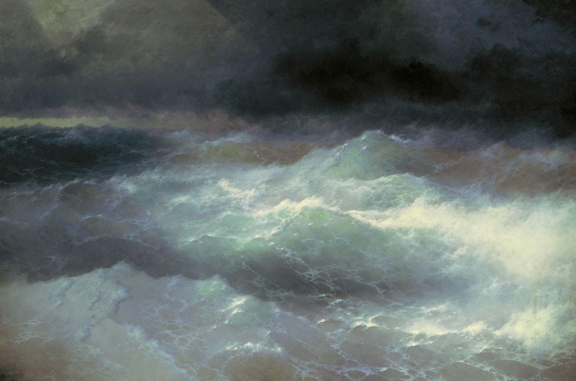 Айвазовский картины «Среди волн», 1898 (Феодосийская картинная галерея имени И.К. Айвазовского, Феодосия)