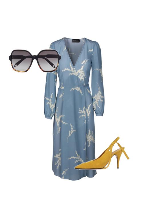 Очки, замшевые босоножки, Victoria Beckham. Платье, Realisation