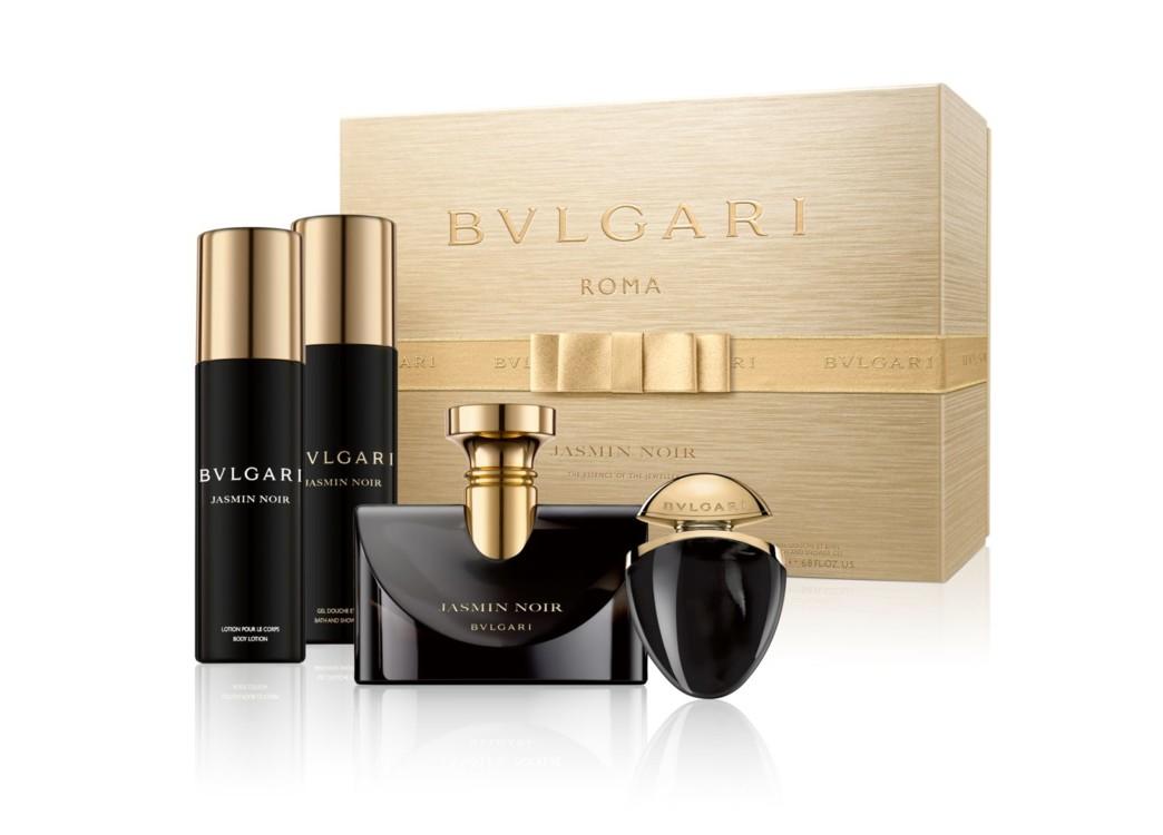 Женский подарочный набор Bulgari Jasmin Noir: лосьон для тела, гель для ванной и душа, парфюмированная вода и мини-версия аромата для путешествий, все – Bulgari