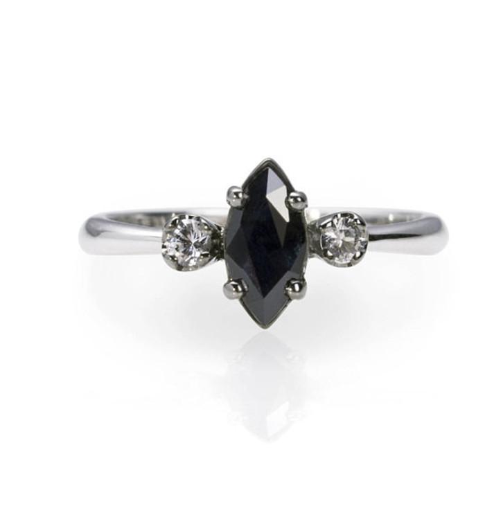 Кольцо, черный сапфир, бриллианты, Etsy