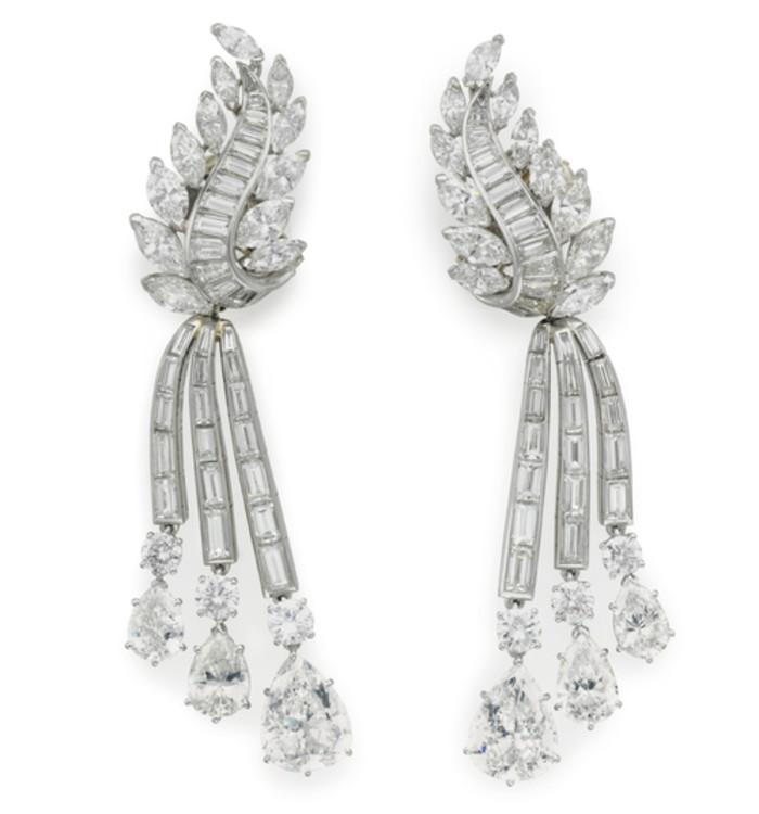 Сережки-трансформери з платини з діамантами