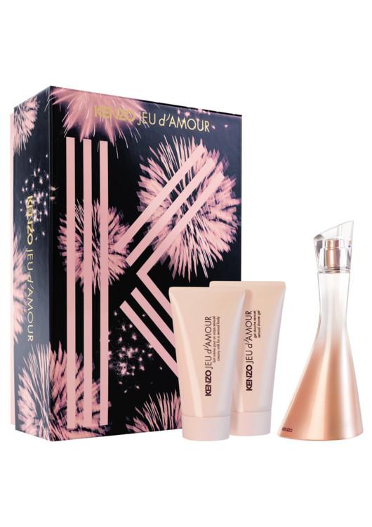 Женский подарочный набор Jeu d'Amour: молочко для чувствительной кожи, гель для душа, парфюмированная вода, все - Kenzo