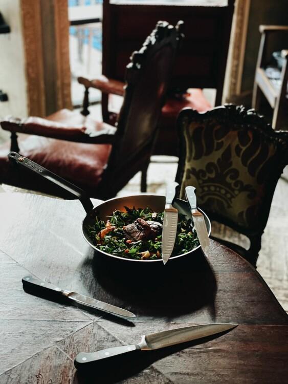 Сковорода De Buyer и ножи Wuesthof