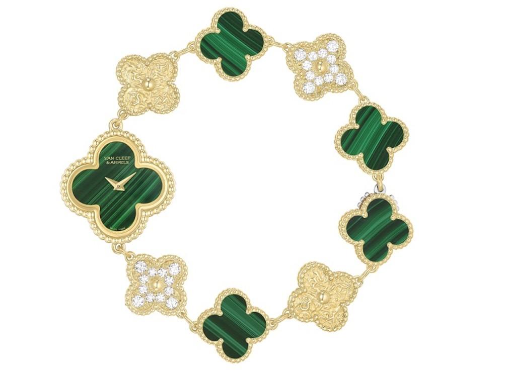 Годинник Alhambra, жовте золото, діаманти, малахіт, Van Cleef & Arpels