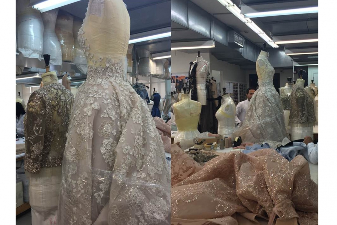 Couture gowns in progress in Saab's Beirut atelier, destined for glittering events...