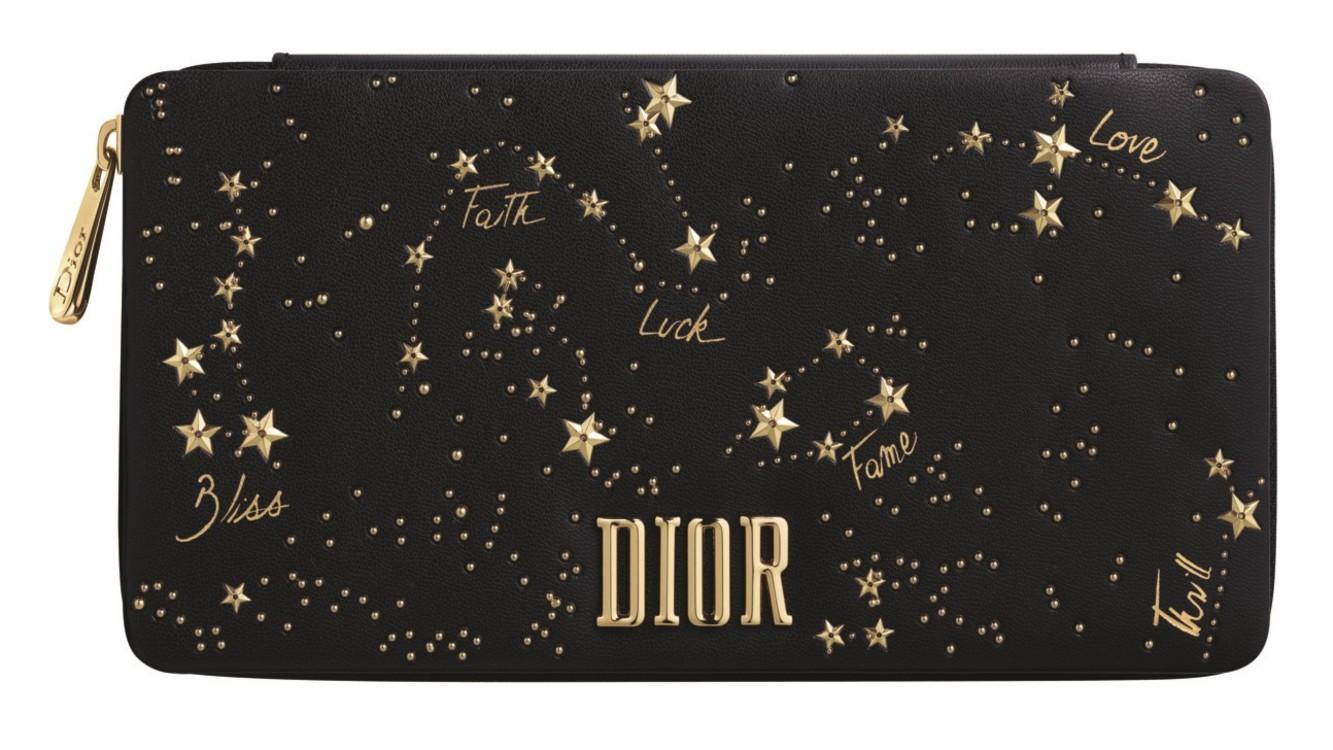 Подарочный набор в праздничном клатче: помада и пять сменных блоков с предсказаниями-пожеланиями: Love, Bless, Luck, Faith и Fame, Dior