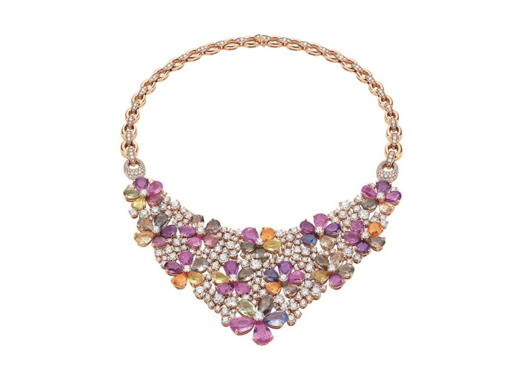 Кольє Bulgari Flora, рожеве золото, 60 сапфірів, діаманти, 2013