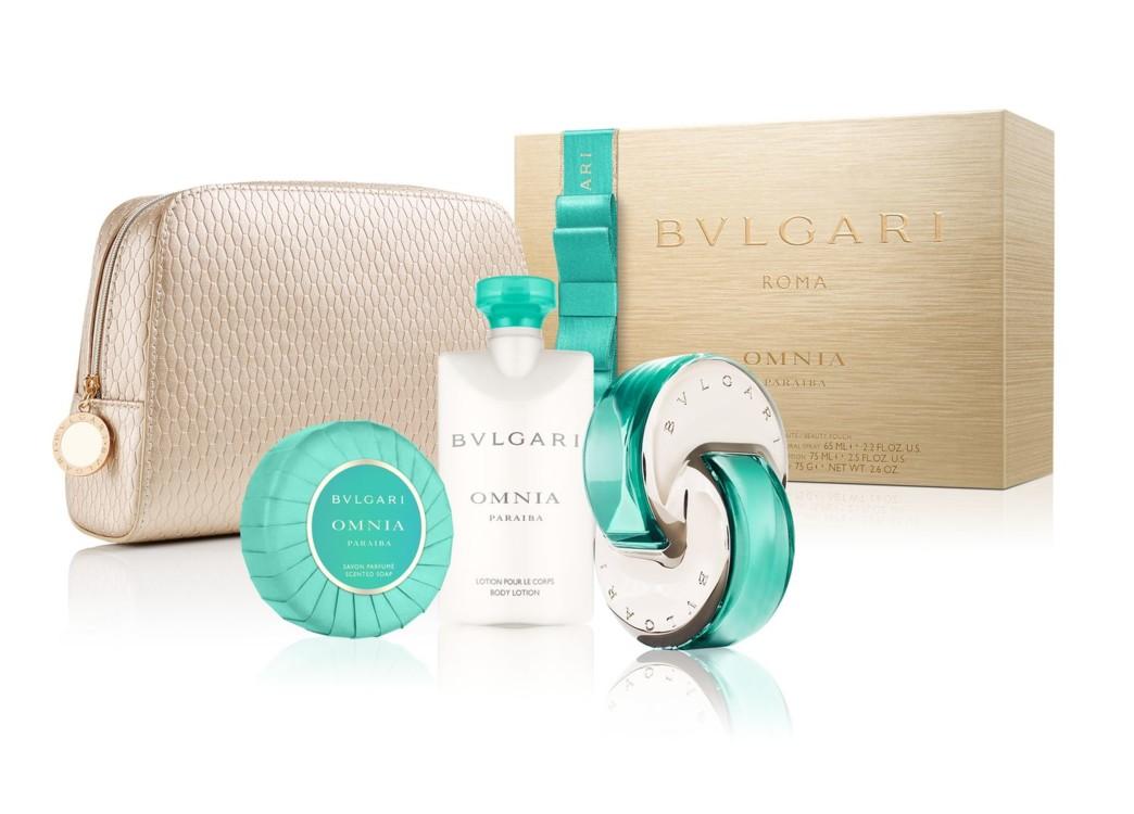Женский подарочный набор Bulgari Paraiba: парфюмированное мыло, лосьон для тела, туалетная вода и косметичка, все – Bulgari