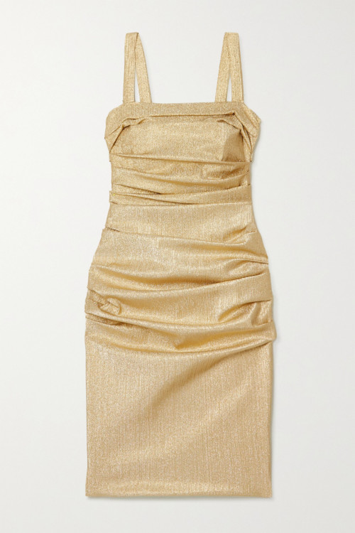 В чем встретить Новый год: платья в оттенке жидкого золота фото
