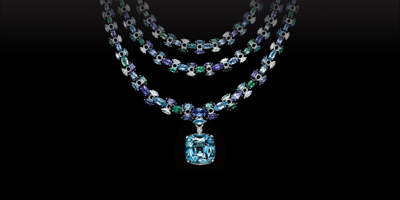 Колье из коллекции High Jewelry by Tiffany & Co, платина, аквамарин огранки «кушон» (52,8 карата), танзаниты огранки «маркиз», зеленые турмалины огранки «маркиз», аквамарины огранки «маркиз», бриллианты круглой огранки и огранки «маркиз», Tiffany & Co