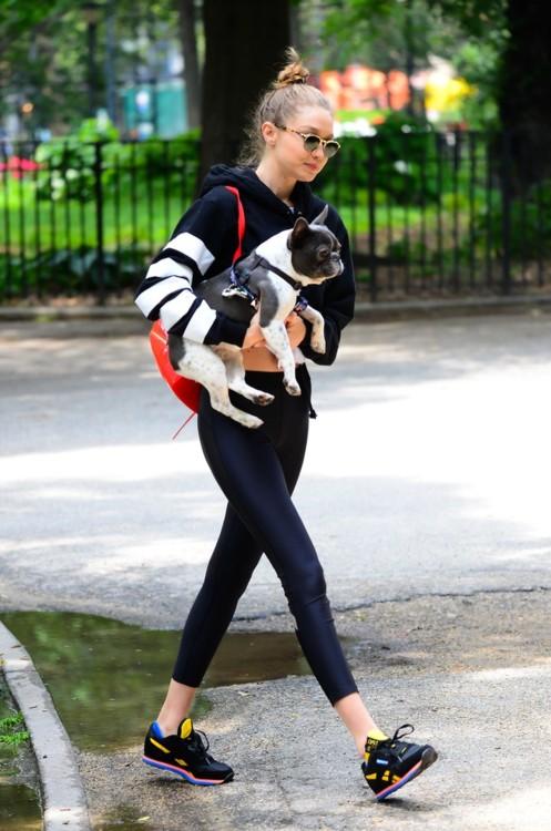 Джиджи Хадид со своей собакой в Ист-Виллидж, Нью-Йорк, июнь 2017