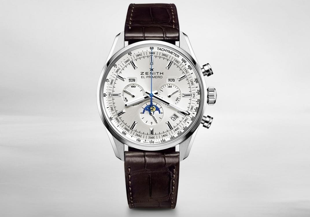 Часы El Primero, корпус из стали, ремешок из кожи аллигатора, ZENITH