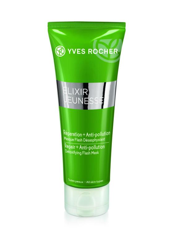 Маска для всіх типів шкіри Elixir Jeunesse Детокс і відновлення, Yves Rocher, миттєво насичує шкіру киснем, освіжає колір обличчя. Містить екстракт афлоі