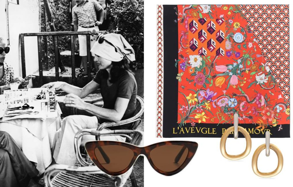 Солнцезащитные очки Mango, серьги Charlotte Chesnais, шарф Gucci