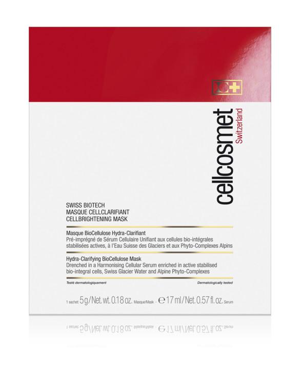 Висвітлювальна маска Cellcosmet, містить біоактивний комплекс для висвітлення шкіри, лейкоцитарний екстракт, лимонну і гліколеву кислоти, які помітно висвітлюють пігментні і вікові плями, вітамін С з шипшини, що стимулює вироблення колагену